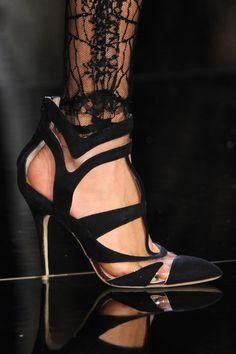 Monique Lhuillier Black Cut-Out Pumps Fall 2013 RTW #Shoes #Heels #Sandals