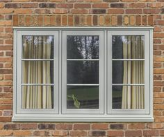 Agate grey windows and doors from John Fredericks Grey Windows, Porch Windows, Cottage Windows, Timber Windows, Casement Windows, House Windows, Coloured Upvc Windows, Windows Decor, Modern Window Design