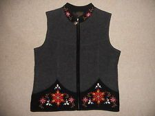 Womens Sweater Vest-ICELANDIC DESIGN-gray boiled wool Nordic lined cardigan-M