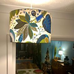 Green and blue Scandinavian fabric lampshade 30cm to 45cm | Etsy