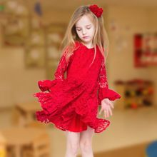 2016 new design children clothes red lace long flare sleeve o-neck children dress for girl's