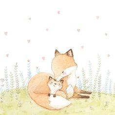 Cartoon Drawings, Cute Drawings, Mothers Day Cartoon, Fox Drawing, Fox Painting, Autumn Illustration, Baby Wall Art, Fox Art, Watercolor Animals
