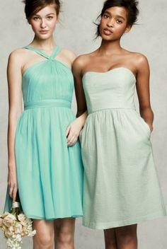 aqua and light green j.crew wedding/bridesmaid dresses