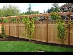 love the lattice over top of privacy fence and pergola-type topper. Do this along the back fence to shield from neighbors. Add climbing plants/vines to add more privacy above the fence where the pergola is. Privacy Fence Designs, Privacy Landscaping, Backyard Privacy, Privacy Fences, Backyard Fences, Garden Fencing, Landscaping Ideas, Pool Fence, Balcony Privacy