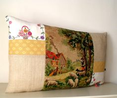 French Vintage Needlepoint Pastoral scene Linen by Retrocollects £35 https://www.etsy.com/shop/Retrocollects