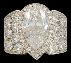 Platinum Pear Shape Diamond Ring. P/S approx. 3.19cts. with GIA Certificate