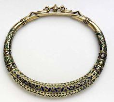 Kangra, India   Silver-gilt with enamel anklet   ca. 1850.