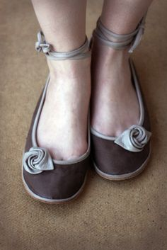 Beige Rose  Handmade  Leather flat shoes by TheDrifterLeather, $85.00
