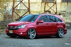 Honda CRV in exotic red and on Vossen VVSCV3 wheels