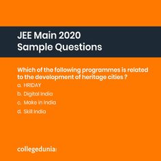 JEE Main 2020 (January session) is almost a month away. Since the clock is ticking, you better prepare your best. These are some sample questions for, B.Planning, released by NTA . Engineering Colleges In India, Exam Day, College Search, Digital India, Entrance Exam, Higher Education, College Life, College Students, Maine