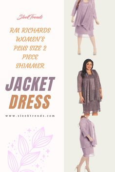 Look more beautiful on your daughters wedding day with RM Richards Plus size Women's Metallic Shimmer Jacket Dress designed exclusively for the mother of the bride! The jacket dress is a two piece knee length dress with seperate jacket. plus size fall outfit, plus size fashion for women, plus size, plus size outfits, Mother Of The Bride Dress! #plussize #Womensoutfit #jacketdress #plussizedress #sleektrends