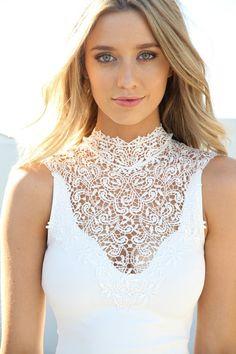 Very chic lace high neckline wedding dress