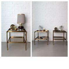 Vintage Beistelltische Messing, Paar Mid Century Nachttische, kleiner Tisch…