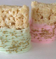 Pink Mint Gold Rice Krispie Treat ~ Pink Mint Gold First Birthday ~Pink Mint Gold Wedding ~ Pink Mint Gold Baby Shower Baby Girl First Birthday, Minnie Birthday, First Birthday Parties, First Birthdays, 22nd Birthday, Mint Baby Shower, Gold Baby Showers, Pink Gold Cake, Mint Gold Weddings