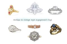 """Jewelers Mutual Insurance Company + Engagement Rings We Love — Antique and vintage-inspired engagement rings: French Art Nouveau ruby pearl ring, Art Deco style ring, Victorian style engagement ring, """"Zeus and Hera"""" ring, vintage Edwardian, ring with open-work setting. Center: 1880′s antique gold ring"""