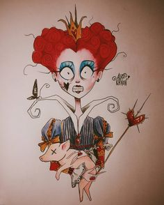 I m not Crazy. I Just need your Heart. Queen of Hearts. Do you like this drawing Vocs gostaram desse desenho Achei tao sei la. Tim Burton Drawings Style, Tim Burton Art Style, Arte Tim Burton, Tim Burton Stil, Tim Burton Kunst, Tim Burton Artwork, Art Disney, Disney Kunst, Cartoon Kunst