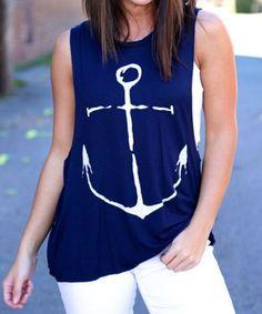 Stylish Round Collar Sleeveless Anchor Print Women's Tank Top Vests & Tank Tops   RoseGal.com Mobile