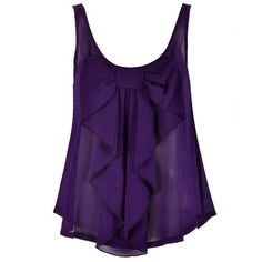 CHIFFON BOW FRONT TOP ($20) ❤ liked on Polyvore featuring tops, shirts, tank tops, tanks, purple shirt, chiffon tank, chiffon tank top, chiffon tops and chiffon shirt