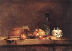 Still Life with Botttle of Olives by Jean-Simeon Chardin   1760   Louvre, Paris France.
