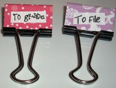 Teacher Themed Binder Clips on Etsy, $5.00