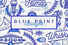 Blue Print Badges by amgd on @creativemarket