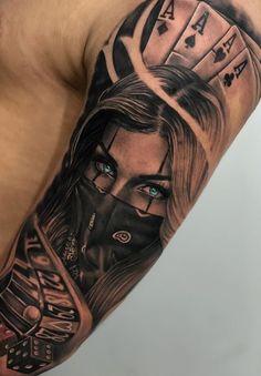 by Artista IG: . the_art_of_tattooing - Ink - Tattoo Tattoo Arm Mann, Chicanas Tattoo, Skull Girl Tattoo, Girl Face Tattoo, Clown Tattoo, Forarm Tattoos, Girl Arm Tattoos, Arm Sleeve Tattoos, Dope Tattoos