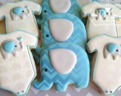 One Dozen (12) Chevron Elephant Themed Baby Shower Decorated Sugar Cookies