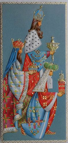 vintage christmas card of the three wise men | ... Mid Century Magi Three Kings Vintage Christmas Greeting Card | eBay