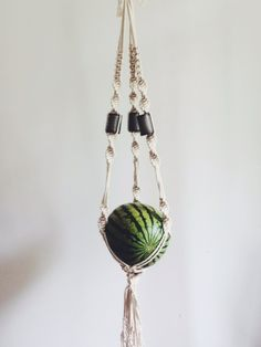 Macrame Plant Hanger with Ceramic Beads by Emily Katz