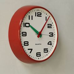 metal retro wall clock red - Google Search