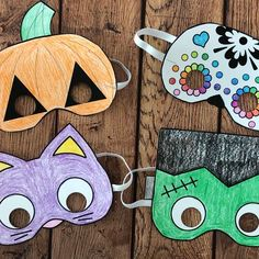 These fun print and color masks are an easy, cheap Halloween craft for kids! Perfect for class Halloween parties. These printable Halloween masks are an easy and inexpensive Halloween craft for kids. Great idea for kid's classroom Halloween parties! Cheap Halloween, Halloween Crafts For Kids, Halloween Art, Halloween Decorations, Preschool Halloween, Halloween 2020, Halloween Costumes, Classroom Halloween Party, Halloween Parties
