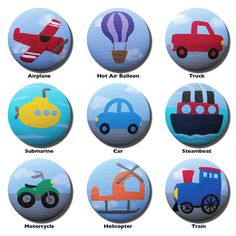 Hand Painted Knob - Childrens Custom Hand Painted Transportation Vehicle Drawer Knobs Pulls or Nail Covers for Kids via Etsy
