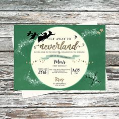 Personalised Green Neverland Invitation, Second Star to the Right and Straight on til Morning, Peter Pan Party, Gold, Pixie Dust, Never Grow Up, Moon