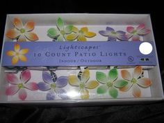 Lightscapes 10 Count Patio String Lights ~ Indoor/Outdoor ~ Pastel Nylon Flowers