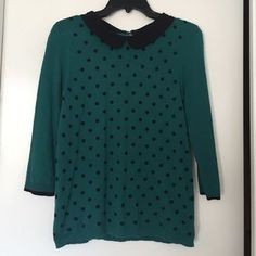 I just discovered this while shopping on Poshmark: Polka dot Green 3/4 sleeve sweater. Check it out! Price: $11 Size: M