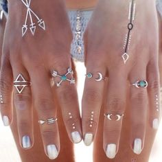 Boho Moon Ring Set 6 rings // silver color // turquoise details // never worn Jewelry Rings