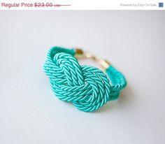 Teal Nautical Cord Sailor Knot Bracelet by pardes israel, via Etsy.