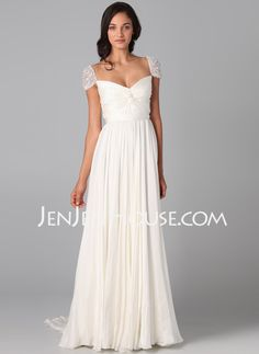 Evening Dresses - $123.49 - A-Line/Princess V-neck Court Train Chiffon  Charmeuse Evening Dresses With Ruffle  Beading (017005601) http://jenjenhouse.com/A-line-Princess-V-neck-Court-Train-Chiffon--Charmeuse-Evening-Dresses-With-Ruffle--Beading-017005601-g5601
