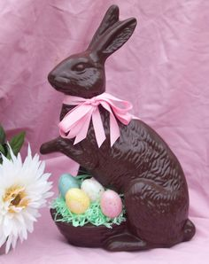 Chocolate Ceramic Easter Bunny with Basket of Eggs - Ragdoll722