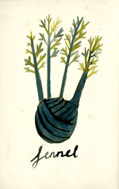 Fennel yarn hands illustrations for a cookbook called 'Four'. by Kat Frank, via Behance