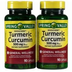 Spring Valley Whole Herb Turmeric Curcumin Dietary Supplement Capsules, 500 mg, 90 count, Twin Pack Tumeric Benefits, Benefits Of Vitamin A, Turmeric Capsules Benefits, Turmeric Supplement Benefits, Health Benefits, Turmeric Vitamins, Turmeric Curcumin, Turmeric Health, Organic Supplements