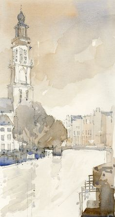River in Canal District, Amsterdam, Winter 2014. Watercolour on Board. www.nickhirst.co.uk