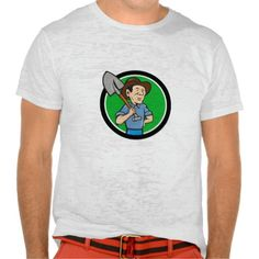 Farmer Shovel Shoulder Circle Cartoon T-shirt. Illustration of an organic farmer holding shovel on shoulder looking to the side viewed from front set inside circle done in cartoon style. #Illustration #FarmerShovelShoulder