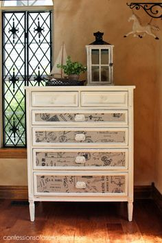 25 Ways to Upcycle Your Dresser: Decoupage the Drawer Fronts