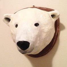 paper mache polar bear head wall mount by marymake on Etsy, $60.00