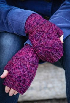 Knitting Pattern Birthstone Fingerless Mitts - Simple 2x2 ribbed fingerless mitts with a delicate 2-stitch cable motif on the backs of the hands.
