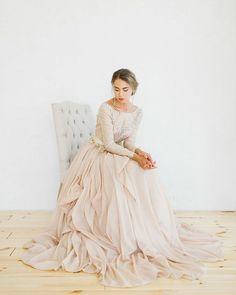 Model: tendre 009 Description: nude silk batiste non-corset wedding dress; open back long sleeve bodice with lace lining, layered gauzy mesh skirt