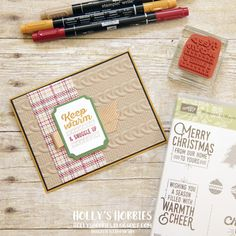 "Holly's Hobbies: A sneak peek at a brand new holiday catalog stamp set!  I used Wrapped in Warmth from @Stampinup for a ""get well"" theme for the Creation Station blog hop!  This set is simply adorable! I love the stitching and the sentiments - not to mention it pairs great with the Warmth & Cheer DSP and Cable Knit Embossing Folder!"