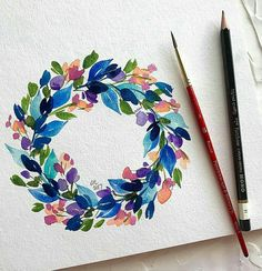 Watercolor - colorful flower wreath