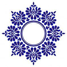 Porcelain floral round vector image on VectorStock Stencil Patterns, Stencil Designs, Pattern Art, Pattern Flower, Border Pattern, Circle Pattern, Vector Pattern, Mandala Painting, Mandala Drawing